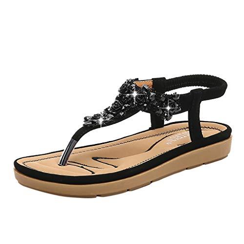 Womens T-Strap Flache Sandalen Böhmen Stil Römischen Clip Toe Flip Flop Strass Decor Slingback Slip-On Sandale Lässige Sommer Strand Schuhe