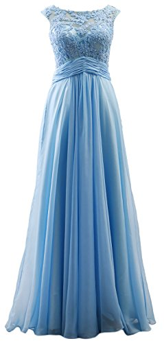 MACloth Elegant Cap Sleeves Long Prom Dress Lace Chiffon Formal Evening Gown Sky Blue
