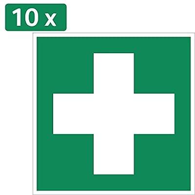 10 Erste Hilfe Aufkleber - Aufkleber Erste Hilfe (10 Stück) vorgestanzt für Innen & Außen mit UV Schutz, witterungsbeständig, selbstklebend, Verbandkasten Aufkleber Verbandskasten, Rettungszeichen, Erste Hilfe Schild überkleben, Warnzeichen