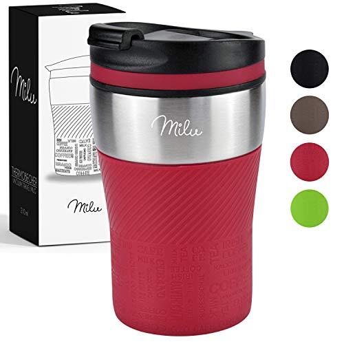 Milu Thermobecher Isolierbecher Kaffeebecher to go - 210ml 100% Auslaufsicher - Trinkbecher aus Edelstahl - Autobecher doppelwand Isolierung - Thermo Becher - Travel Mug (Rot)