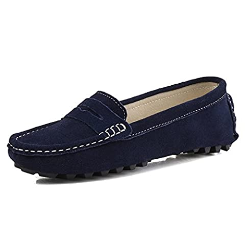 SUNROLAN Rebacca Women's Suede Leather Driving Moccasins Slip-On Penny Loafer...