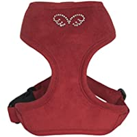 Puppy Angel Du Angione Suede Harness, X-Small, Red