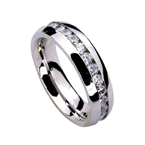 JIEZHI Edelstahlringe Titan Stahl Hochpoliert Eingelegt Innen Arc Kreis Strass Silber Ring Paar Liebhaber Engagement
