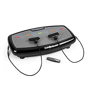 Klarfit Vib 1000 – Vibrationsplatte, Vibrationstrainer, Fitnessgerät, 30 Intensitätsstufen, Trainingscomputer, LCD-Display, Bodenrollen, max. 120 Kg, Fitness-Bänder, rot oder schwarz