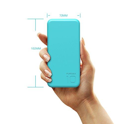 10000 mAh Batería Externa 2 Puertos Puridea Power Bank con LED indicación del estado Cargador Portátil para iPhone X 8 7 6 Puls   iPad  Samsung y Otros Dispositivos (Azul)