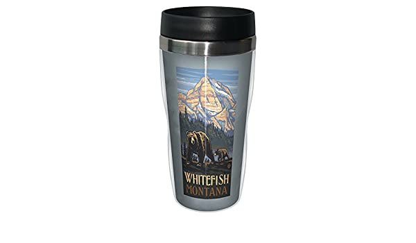 Lanquist Stainless Steel Sip N Go Travel Tumbler 16-Ounce Tree-Free Greetings sg23356 Scenic Whitefish Montana Grizzly Bear and Cub by Paul A