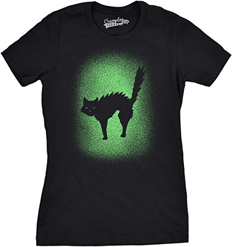 Crazy Lady Cat Kostüme (Crazy Dog TShirts - Womens Glowing Cat Glow In The Dark Cool Halloween T Shirt Funny Kitty Tee (black) S - damen -)