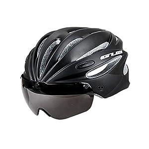 Radfahrsicherheit Leichter Fahrradhelm – One Size (58-62Cm), Schwarz Abnehmbare Pad Adult Bike Helm 245G Mit Brille