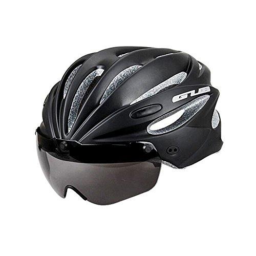 Casco da bicicletta leggero di sicurezza in bicicletta - taglia unica (58-62 cm), casco rimovibile nero casco da bicicletta adulto 245g con occhiali