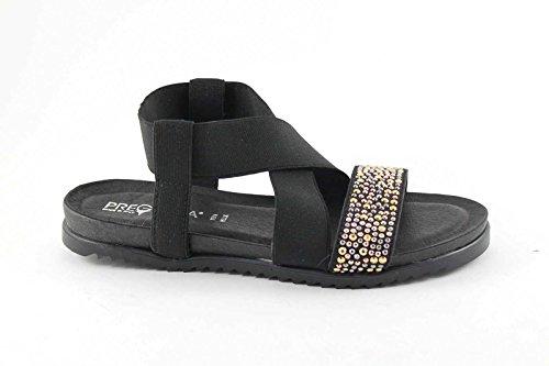 PREGUNTA IG8971 nero scarpe donna sandalo pelle elastico brillantini glitter Nero