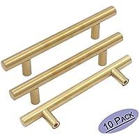 10 piezas Goldenwarm de acero inoxidable dorado y moderno para puerta de cocina, armario de cocina, manillar de barra para tirar, pomo de latón cepillado