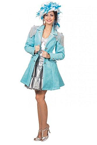 shoperama Hochwertige Alcantara Uniformjacke für Damen Türkis Gardeuniform Gehrock Jacke Karneval Kostüm, Größe:36