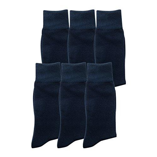 6 Paar Herrensocken aus Baumwolle dunkelblau, elegante Socken in 6er Pack aus Baumwolle, für Business oder Freizeit, kein Naht, blickdicht, keine Druckstellen an Bein (43-36, DunkelBlau)