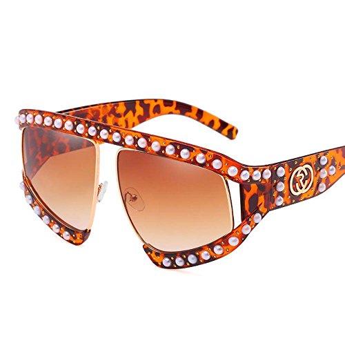 AOLVO mit großen Übergroße Sonnenbrille für Damen-Sonnenbrille, modische Hülle mit großer Bilderrahmen, mit Schutzbrille Brille UV 400, braun