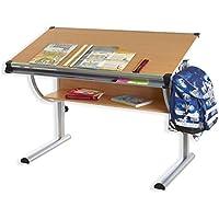 Preisvergleich für IDIMEX Kinderschreibtisch CHRISTINA, höhenverstellbar und neigungsverstellbar, Buche Dekor, Schülerschreibtisch Jugendschreibtisch Schreibtisch für Kinder