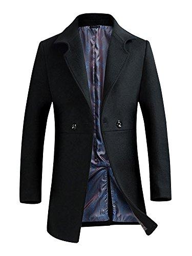 Herren Übergangsmantel Winterjacke Pea Coat Wollmantel Warm Slim Fit Wollmischung #07 Schwarz