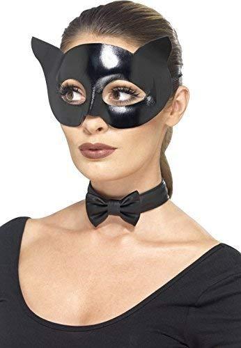 Katze Super Hero Maske & Fliege Halloween Tier Kostüm Kleid Outfit Satz ()