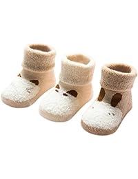 DEBAIJIA 3 Pares de Calcetines Bebé Algodón organico Grueso Calcetines Térmicos Largo Recién Nacidos 0-36 Meses Invierno Para Niños Niñas