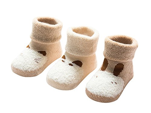 DEBAIJIA Bio-Baumwolle Babysocken für 1-3 Jahre Jungen Mädchen Neugeborene Kleinkind Dicke Warm Socken Set 3er Pack Tiere Motiv - M - Gezüchtet 12