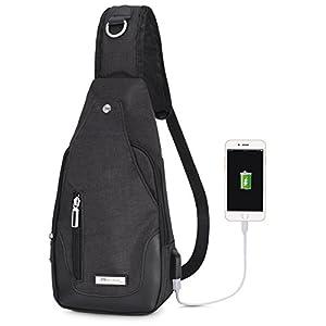 Vbige Mochila Cruzada USB Recargable Mochila para Colgar en el Pecho Casual Bolsa para Exterior Cruzada Satchel Bolsa Bolsa Messenger