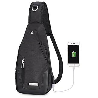 41W787dEmOL. SS324  - Vbige Mochila Cruzada USB Recargable Mochila Para Colgar en el Pecho Casual Bolsa Para Exterior Cruzada Satchel Bolsa Bolsa Messenger