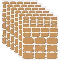 Xstar Kraft Labels Etiquetas autoadhesivas ecológicas adhesivas de papel Kraft Etiquetas de pizarra, Etiqueta Kraft en blanco para tarros de masón caseros, Decration de regalos, 6 hojas (192 piezas)