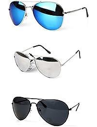 PURECITY© - Lot de 3 paires de Lunettes de Soleil Aviateur - Verres Effet Miroir - Monture Métal - Nouvelle Collection Homme - Fashion Tendance