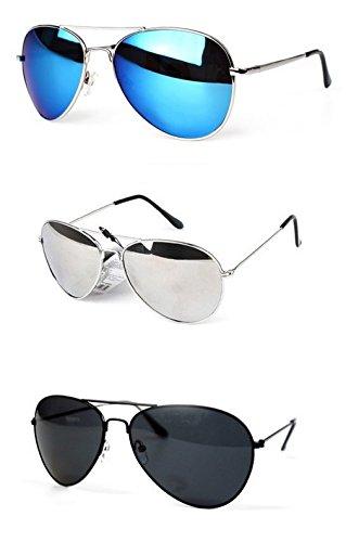 Lunettes De Soleil Style Aviateur / Fbi / Police Verres À Effet Miroir Bleu - Monture Anthracite - Nouveau JF32o8f