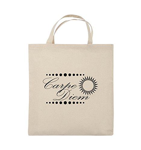Comedy Bags - Carpe Diem - Sonne - Jutebeutel - kurze Henkel - 38x42cm - Farbe: Schwarz / Silber Natural / Schwarz