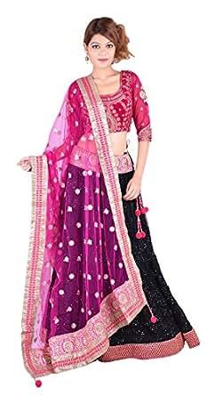 Dress Line Black Dark Pink Princess Cut 3/4 Sleeve Round Neck Lehenga Choli