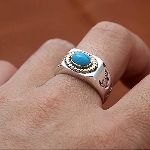 GHY Ring Mode S925 Sterling Silber Ring Schmuck Trend Vintage Thai Silber Inlay Schmuck Ring,20#,Einheitsgröße