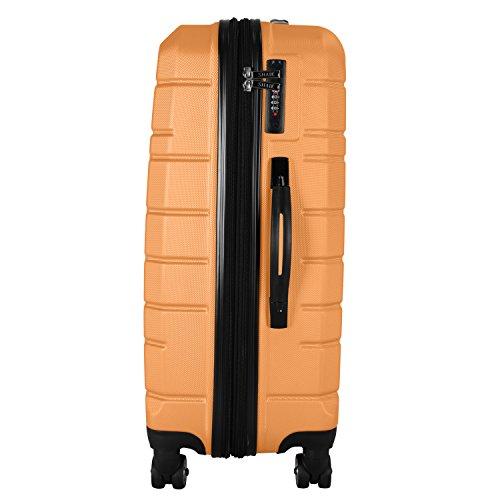 Shaik Serie XANO HKG Design Hartschalen Trolley, Koffer, Reisekoffer, in 3 Größen M/L/XL/Set 50/80/120 Liter, 4 Doppelrollen, TSA Schloss (Großer Koffer XL, Gelb) - 6