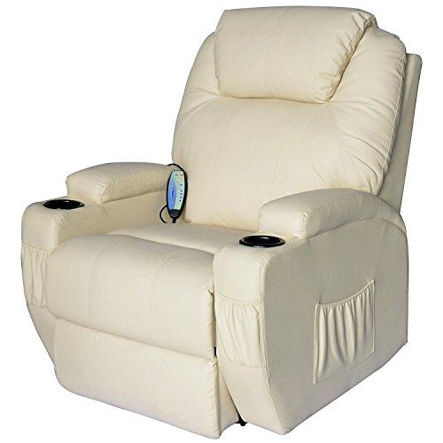 Outsunny - poltrona relax massaggio reclinabile a 8 punti poltrona tv riscaldamento crema