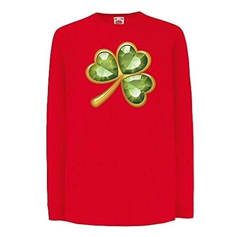 Funny t shirts for kids Long sleeve Irish shamrock St Patricks day clothing (3-4 years Red Multi