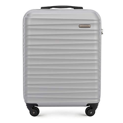 Stabiler Handgepäck Trolley Koffer Reisekoffer von Wittchen Grau ABS Hartschalen Trolley 4 rollen Kombinationsschloss