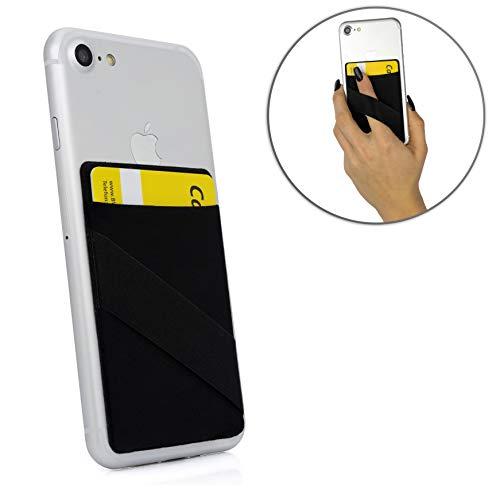 MyGadget Portafoglio per Smartphone con Finger Holder - RFID e NFC Protezione - Porta Carte di Credito Cuffie o Soldi per Apple iPhone Samsung, Huawei - Nero