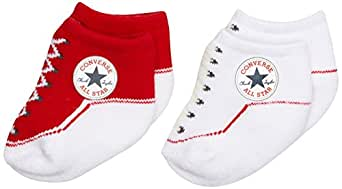 Converse Unisex Baby 2 Pack Booties Plain Socks, Red, 0-6 Months