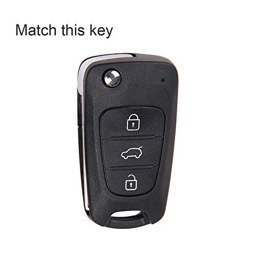 Foto de Nicky Azul Funda de Silicona para Hyundai Kia 3 Botones Llave Plegable Cubierta de Control Remoto Automático