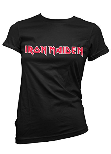 Camiseta Mujer Iron Maiden - camiseta rock metal 100% algodon LaMAGLIERIA, S, Negro