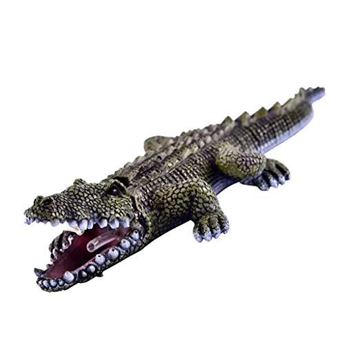 FLAMEER Miniature Crocodile Animaux Figurine Jardin Decoration d'extérieur - 25cm