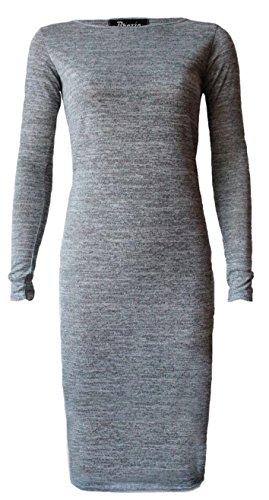 Fashion 4 Less - Robe - Midi - Manches Longues - Femme Gris - Gris