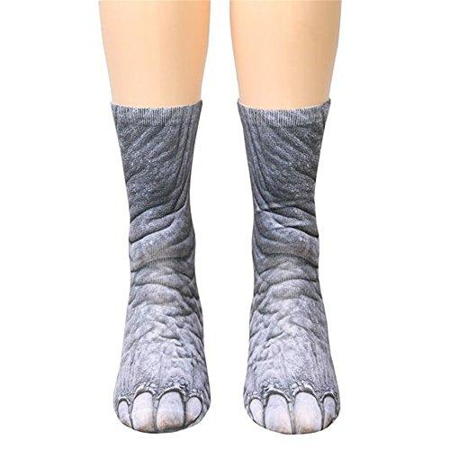 Drucken Socken Tiertatzen Socken Lang Socken Lustige Socken By EUZeo (B-Elefanten) (Lustiges Kostüm Für Frauen)