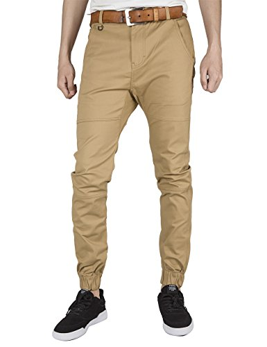 ITALY MORN Herren Chino Jogger Hose Sweatpants Elastisch Manschette Hose Jogging Baggy Hose Slim Trainings Pants Twill Schwarz (X-Large, Khaki) (Twill-hose Stretch)