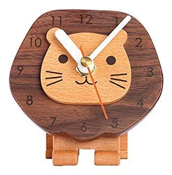 Carpenter niedliche nouveauté horloge analogique Lion Bureau en Bois
