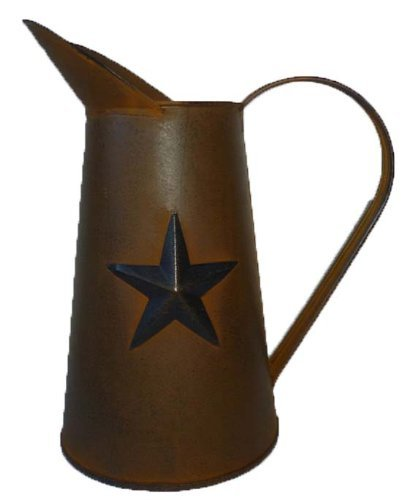 Craft Outlet Rusty Tin Pitcher with Star, 11-Inch by Craft Outlet Inc