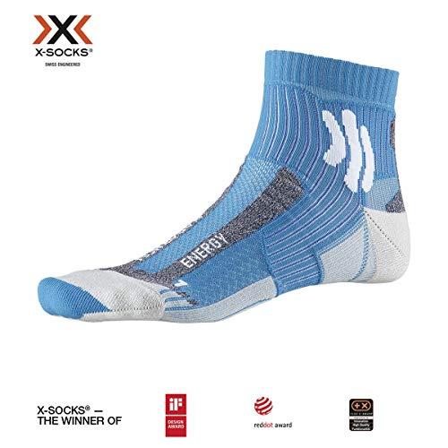 X-Socks Marathon Energy Socks, Teal Blue/Arctic White, 45-47