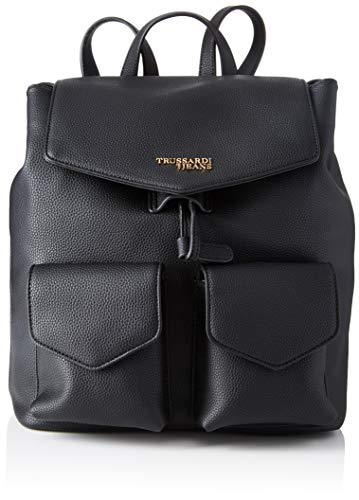 Trussardi Jeans Charlotte Backpack MD Tumbled, Zaino Donna, Nero (Black), 33x15x27 cm (W x H x L)