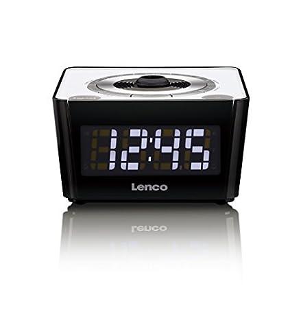 Lenco CR-16 Blue Uhrenradio mit Funkuhr mit PLL FM Tuner und 180 Grad Projektion inkl. Fokus, LED-Display, 2 Weckzeiten, Dual Alarm, Sleeptimer, Schlummerfunktion, Dimmer, Kalender