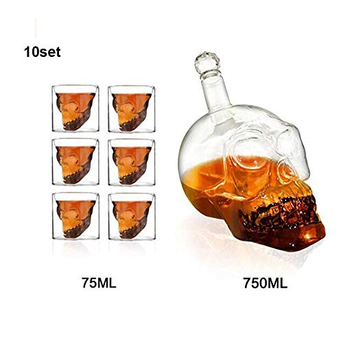 Ahmi 10 Sätze/60pcs 75 ML Totenkopf Gläser und 10pcs 750 ML Flasche-Totenkopf Schnapsglas Vodka Whiskey Set- Großhandel Schädel Wein Gläser Kristall für Bar Party (Gläser Großhandel Wein)