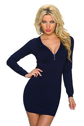 Moewy Damen Strickkleid Minikleid Kleid Pullikleid mit Reißverschluss und Strass Steinen, blau
